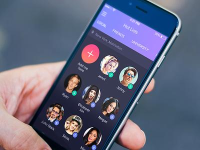 Hot Lists screen ios app concept iphone 6 iphone gradient