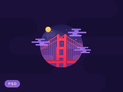 Golden Gate Night [PSD] golden gate clouds illustration night san francisco purple psd