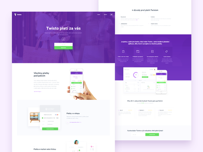 Twisto Homepage twisto dashboard landing iphone purple payments card design