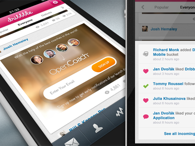 Dribbble iOS app pink dribbble ios iphone retina opencoach app gray