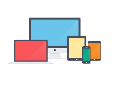 Apple devices - Flat icons (PSD) simple flat apple device imac macbook ipad iphone ipad mini icons