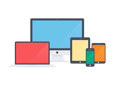 Apple devices - Flat icons (PSD) simple flat apple device imac macbook ipad iphone ipad mini icons