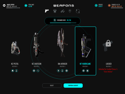 Game UI settings uidesign game icon daily ui weapons loadout dailyuichallenge