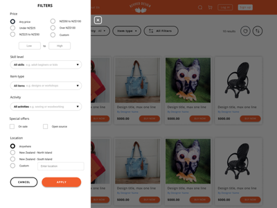Revive - all filters overlay overlay filter refine ecommerce website ui uidesign flat