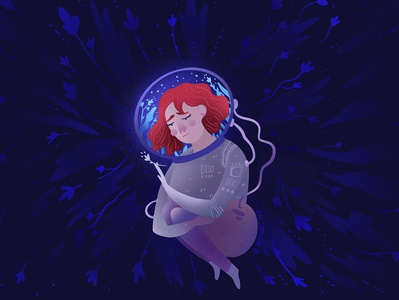 Loneliness art alone loneliness cosmonaut space dreaming girl design blue illustration