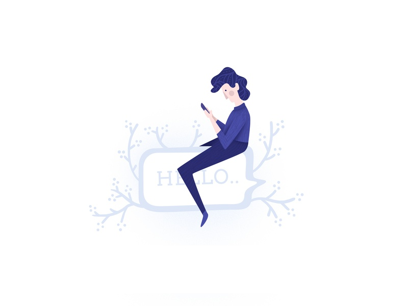 Hello, Spring! hello chat bubble chat girl blue vector ui design illustration