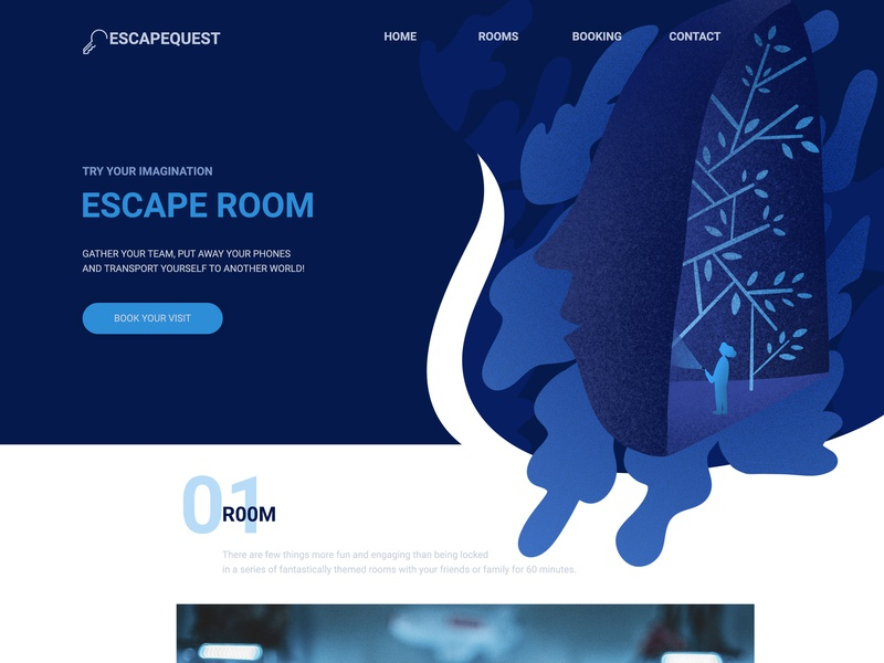 Try your imagination. Landing Page dreaming procreate web design dark theme project illustraion web landing page ui blue design