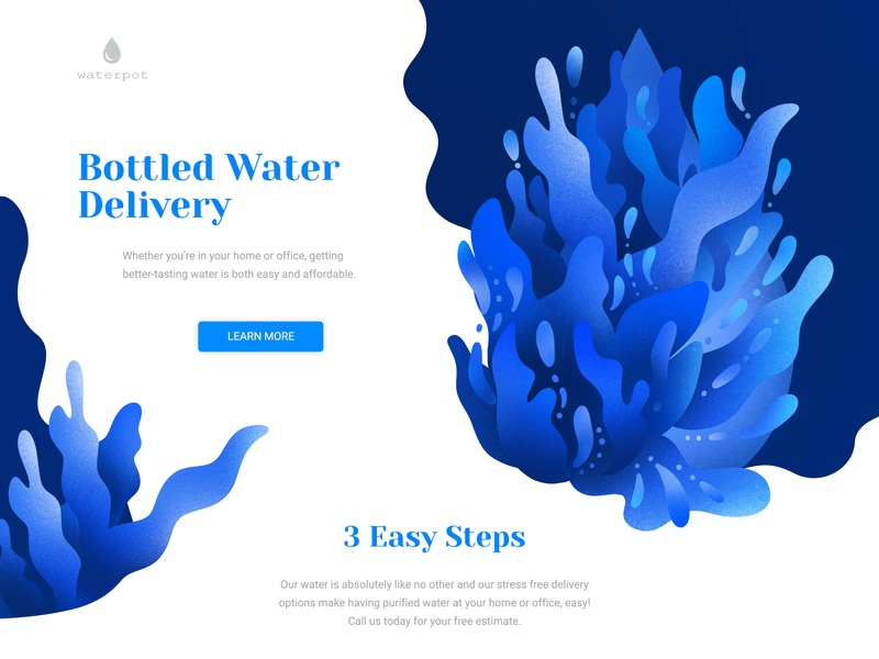 Water delivery web design water website webdesign web typography art ui design blue illustration