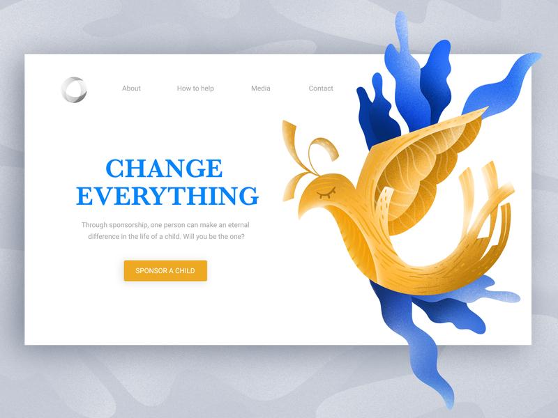 Change Everything web design webdesign fly bird clean design web ui blue illustration