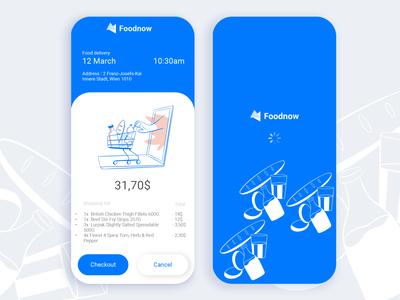 Ui design for food delivery app booking checkout delivery food ui design blue illustration
