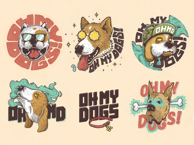 OH MY DOGS! rock curitiba artist band merch album cover album artwork dog comics music identity band vector illustrator graphics illustration