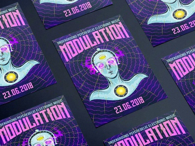 MODULATION CWB leaflet electronic robot party poster flyer event dark psytrance cyberpunk music vector illustrator graphics illustration