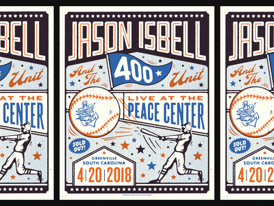 Jason Isbell / Greenville 3 colors gig poster reunions isbell greenville sc baseball illustration jason isbell