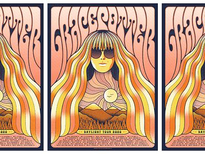 Grace Potter // Daylight Tour daylight tour sunglasses psychedelia psychedelic portrait landscape screenprint illustration gig poster grace potter