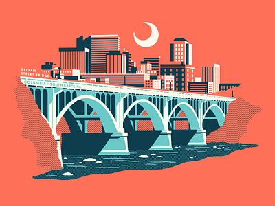Columbia SC soda city cola gervais st river cityscape south carolina skyline columbia sc bridge illustration