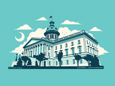 SC statehouse 3 colors drawing building architecture columbia sc columbia state house south carolina illustration