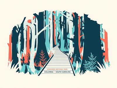 Congaree National Park nature trees hike boardwalk illustration nature illustration national park