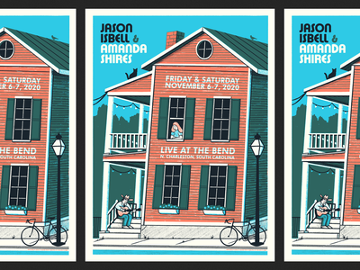 Isbell & Shires in Charleston bicycle amanda shires gig poster illustration south carolina charleston poster graphic poster jason isbell