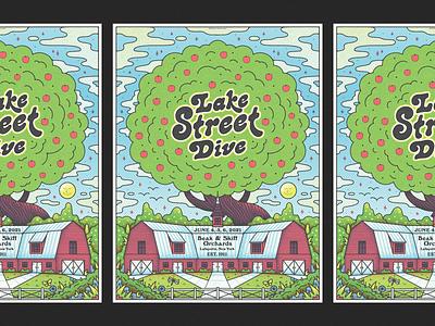 Lake Street Dive flowers trees nature lsd orchard apple tree farm apple illustration gig poster lake street dive