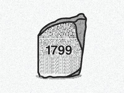 July 15, 1799  daily history illustration icon transation hieroglyphics egypt anthropology archaeology rosetta stone