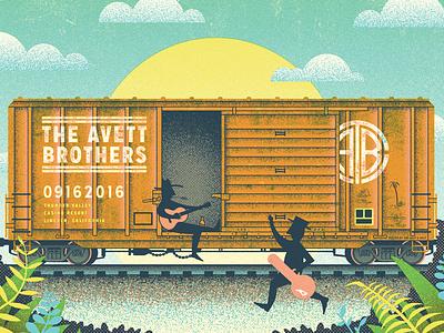 avett hobos  gig poster iillustration california railroad train hopping monikers hobos freight boxcar avett brothers