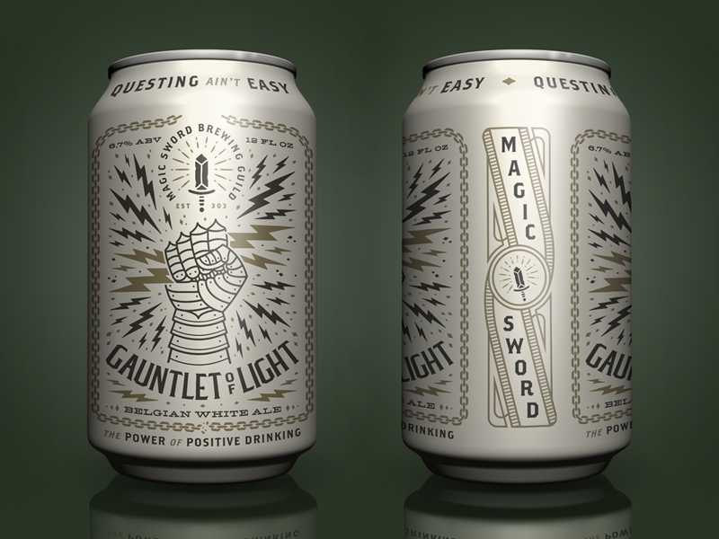 Gauntlet O' Light power lightning illustration can design brewery beer magic sword gauntlet of light