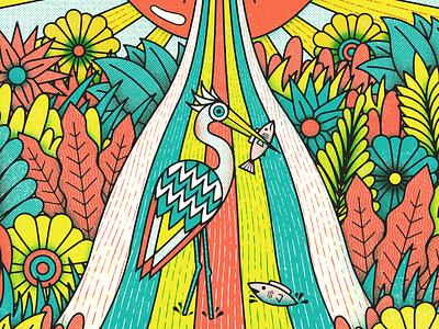 Umphrey's Columbia jambandz umphreys bird nature monoline psychadelic illustration gig poster
