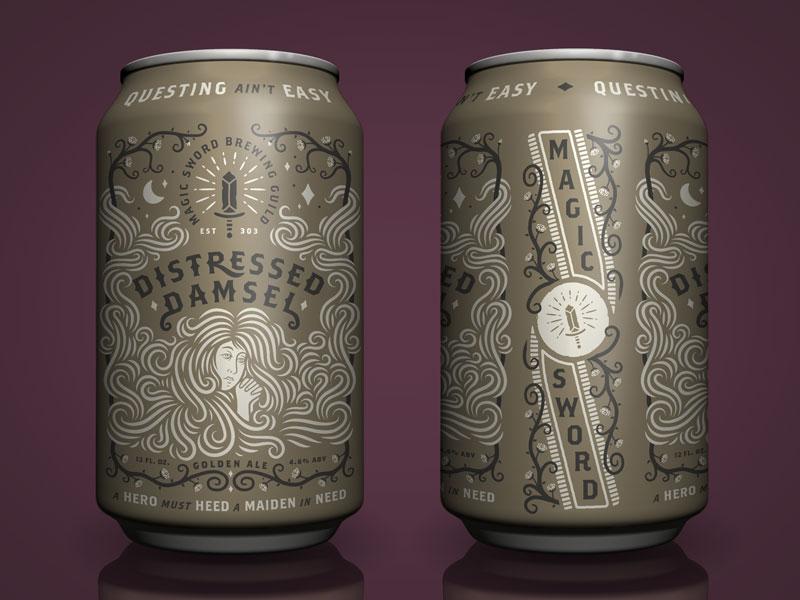 Distressed Damsel packaging magic label fantasy can brewing branding beer adobe