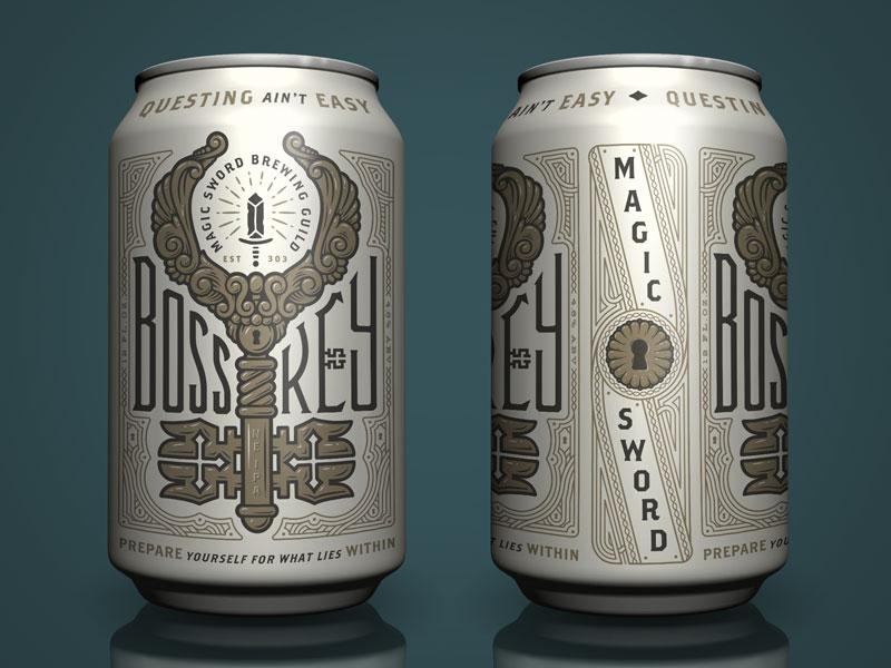 Boss Key packaging magic label fantasy can brewing branding beer adobe