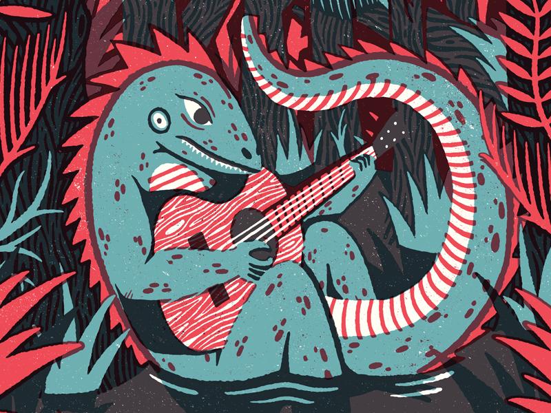 Amos Lee tour poster gig poster design illustration south carolina swamp amos lee man lizard lizard man