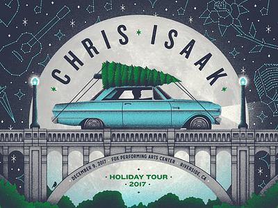 Chris Isaak poster illustration gig poster riverside putabirdonit wow december holidays seasonal christmas tree bridge moon chris isaak chevy nova