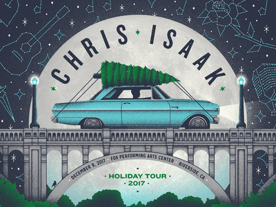 Chris Isaak poster illustration gig poster riverside putabirdonit wow december holidays seasonal christmas tree bridge moon chris isaak chevy nova