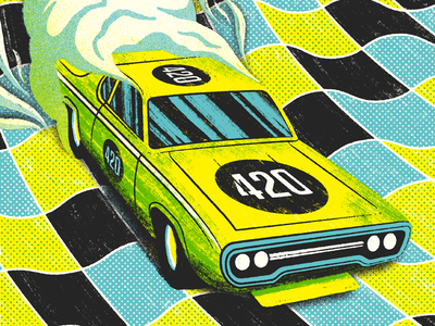 trey anastasio 4/20 burnt tf out burnout bump in the trunk grippin grain whippin gig poster illustration trey anastasio phish hotbox racecar 420