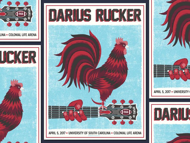 Darius USC illustration gig poster chicken gamecock south carolina usc columbia hootie darius rucker