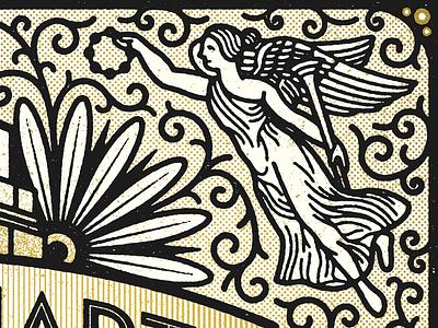 Angel tamborine baby halftone poster illustration angel