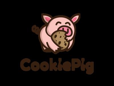 CookiePig Logo typography illustration baking cookies branding logo cookiepig