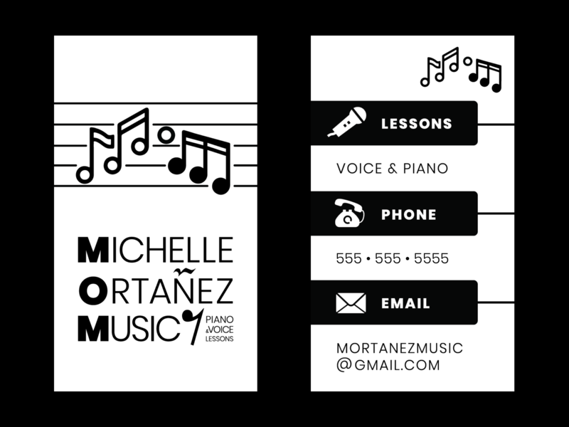 Music Instructor Business Card business card voice piano music logo branding