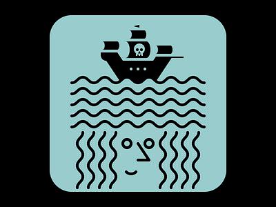 The Pirate Life waves ships ship shapes sea life sea pirates pirate patterns pattern mermaids mermaid illustator illustration graphic design graphic art design artwork art