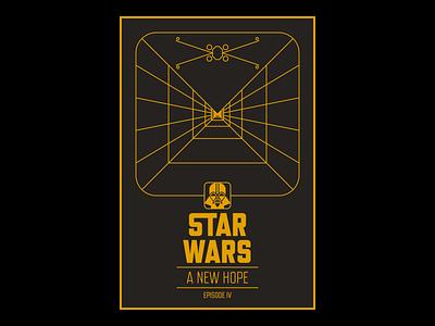Star Wars: Episode IV - A New Hope x-wing vader typography star wars posters poster design poster lucasfilm line-work illustrator illustration graphic design geometric luke skywalker fan art disney design death star darth vader