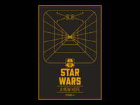 Star Wars: Episode IV - A New Hope x-wing vader typography star wars posters poster design poster lucasfilm line-work illustrator illustration graphic design geometric luke skywalker fan art disney design death star darth vader