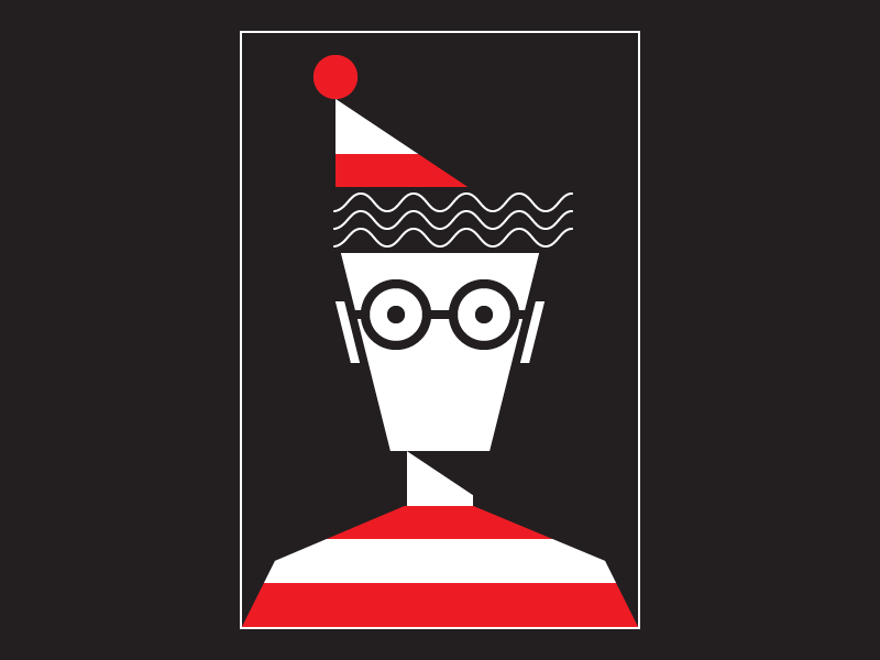 Missing waldo wally vector shapes portrait illustration graphic design geometry geometric flat design art