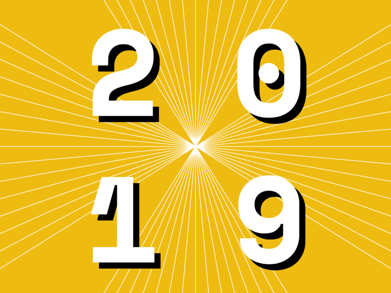 2019 yellow year vector typography type time space mono pattern numbers illustration holidays happy new year graphic design geometry geometric flat design artwork art 2019