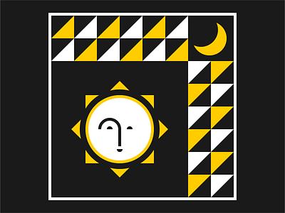 Sun and Moon yellow the sun the moon sun shapes patterns pattern moon illustrator illustration graphic design graphic art geometry geometric design artwork art