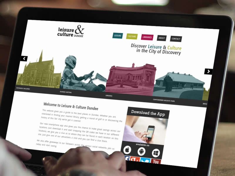 Leisure & Culture Website web design website dundee leisure tourism layout
