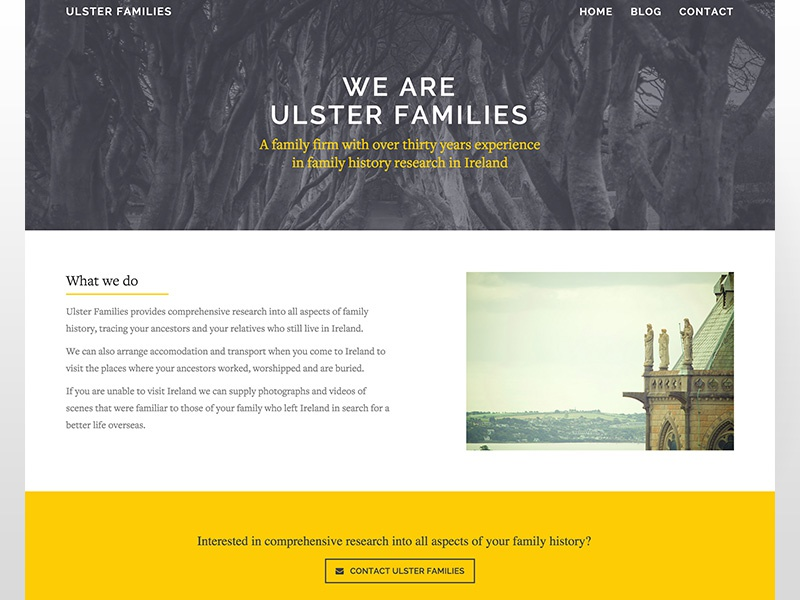 Ulster Families history blue yellow website