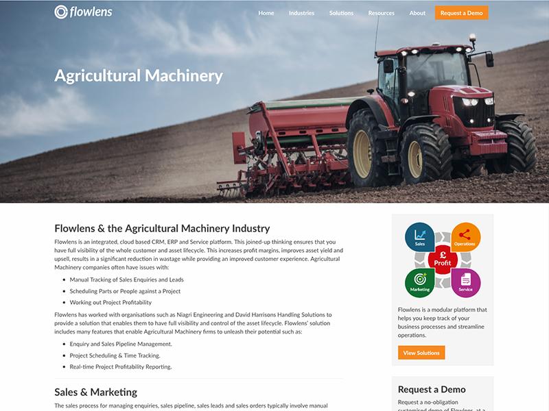 Wordpress Theme for Flowlens web design website business software agriculture wordpress theme