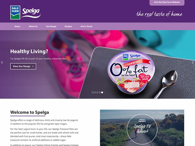 Spelga yogurt dairy food purple web design