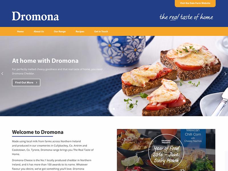 Dromona website cheese dairy yellow blue web design