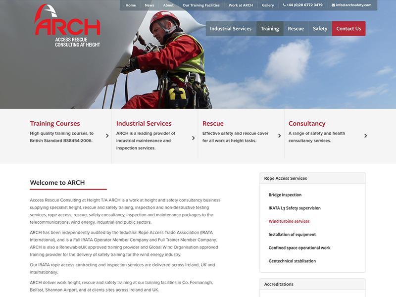 Arch Training Website website background image ui design navigation web design