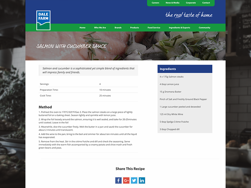 Dale Farm Recipe Page belfast dairy website ui design web design share buttons share method ingredients food recipe